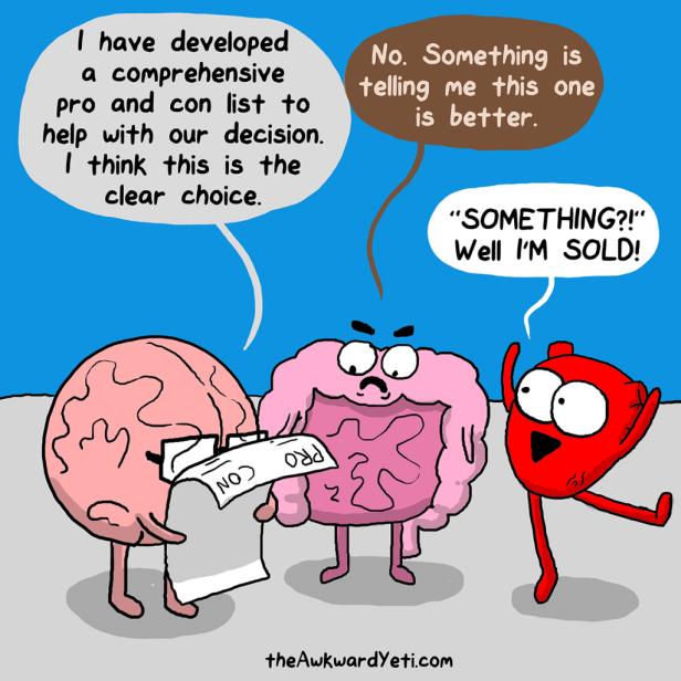 awkward yeti brain heart guts